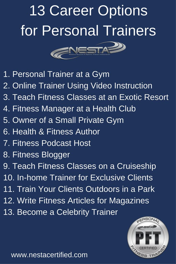 13 Career Options for Personal Trainers. Learn how to make a living as a fitness instructor. Personal training job opportunities are endless. Start your fitness career today.