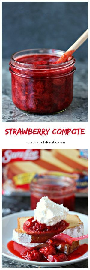 Strawberry Compote - Simple to make and utterly delicious. This 3 ingredient Strawberry Compote is perfect for pouring over Sara Lee® Pound Cake, or ice cream, or anything else you little heart desires!