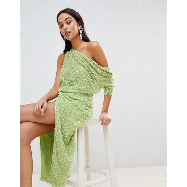 ASOS EDITION One Shoulder All Over Sequin Midi Dress ($185) ❤ liked on Polyvore featuring dresses, green, petite, evening dresses, tall cocktail dresses, petite evening dresses, green sequin dress and midi dress