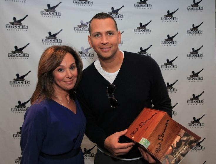 Alex Rodriguez of the New York Yankees with Rosanna Scotto of Fox 5.