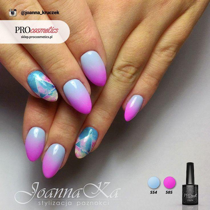 Paznokcie różowo niebieskie ombre hybrydowe żelowe neonowe pastelowe PROnail 554 505 manicure