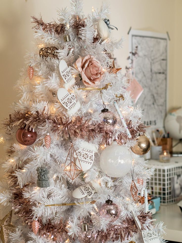 white christmas tree with rose gold and
