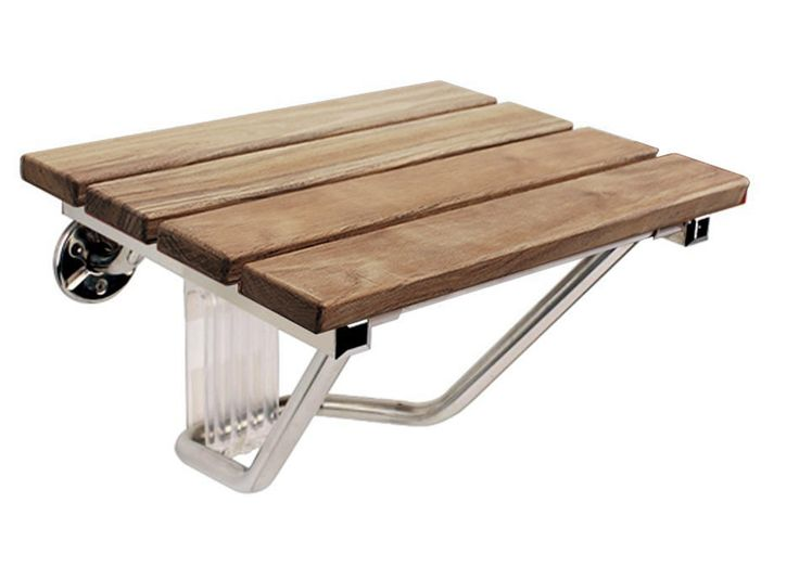 F Folding Wall Mounted Shower Seat by SteamSpa - Solid Wood #SteamSpa