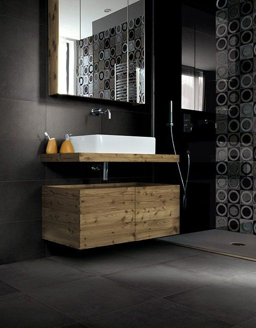 Porcelain stoneware wall/floor tiles with concrete effect CHROME by @Cerdomus Ceramiche  #bathroom #black