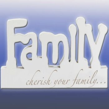 Family. From the very popular Splosh Inspirational Range of block words. With the phrase: cherish your family... written under the larger Family word.