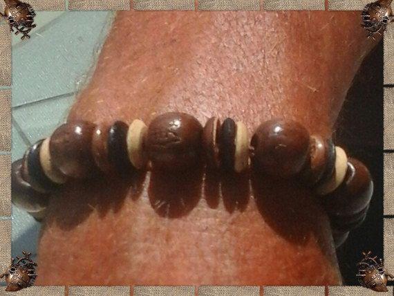 Heren afrikaanse stijl armband,Houten kralen armband voor hem,Afrikastijl heren armband,Elastische heren armband door JuKayDesign op Etsy