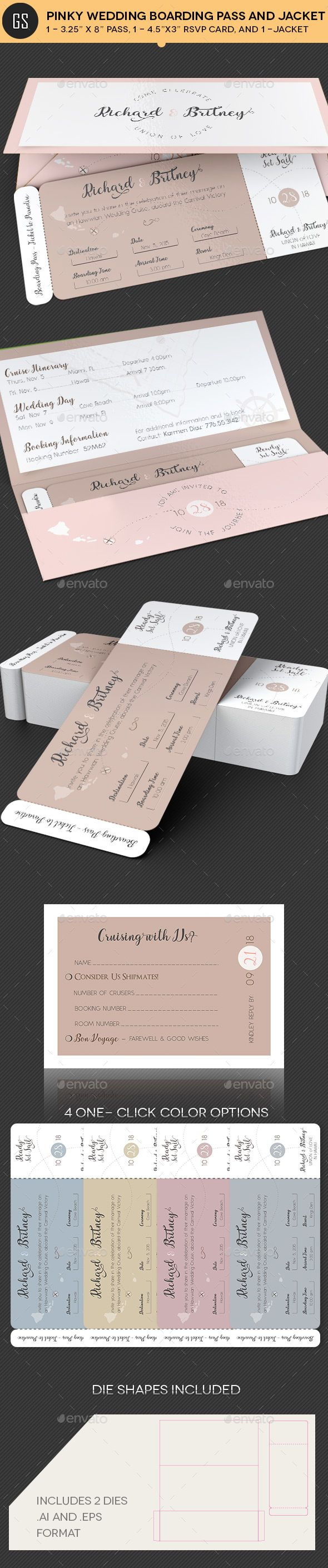 Pinky Wedding Boarding Pass Invitation Template — Photoshop PSD #engagement #invitation • Download ➝ https://graphicriver.net/item/pinky-wedding-boarding-pass-invitation-template/20061721?ref=pxcr