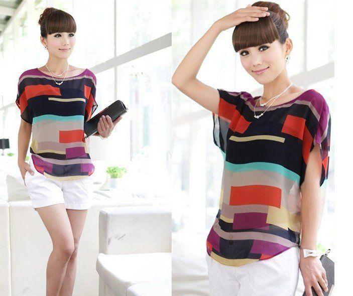 01JS660  women blouse shirt Multi-colour print Stripe Loose Short Sleeve Chiffon casual blouse S-XL  size  Hot Sale