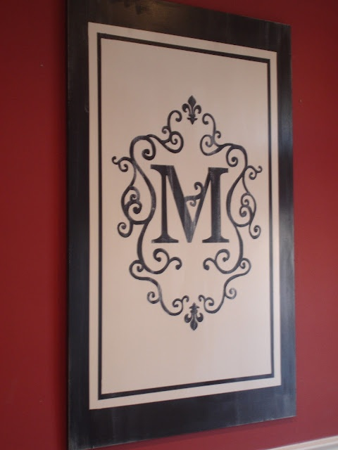 Painted monogram here is the secret for perfect stripes for What kind of paint to use on kitchen cabinets for framed monogram wall art