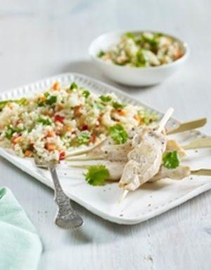 Smakfulle kyllingspidd og bulgursalat - perfekt å servere til både familien og til sammenkomster med gode venner!