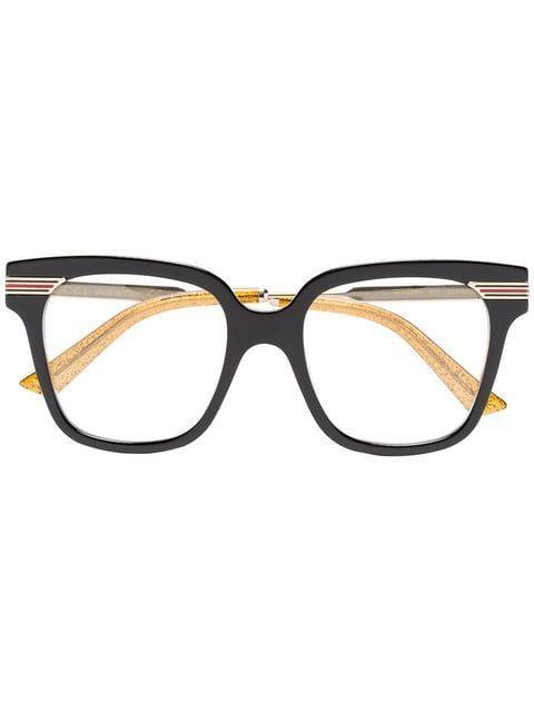 e4047ce0c5 Gucci Eyewear Black Web Detail Optical Glasses in 2019