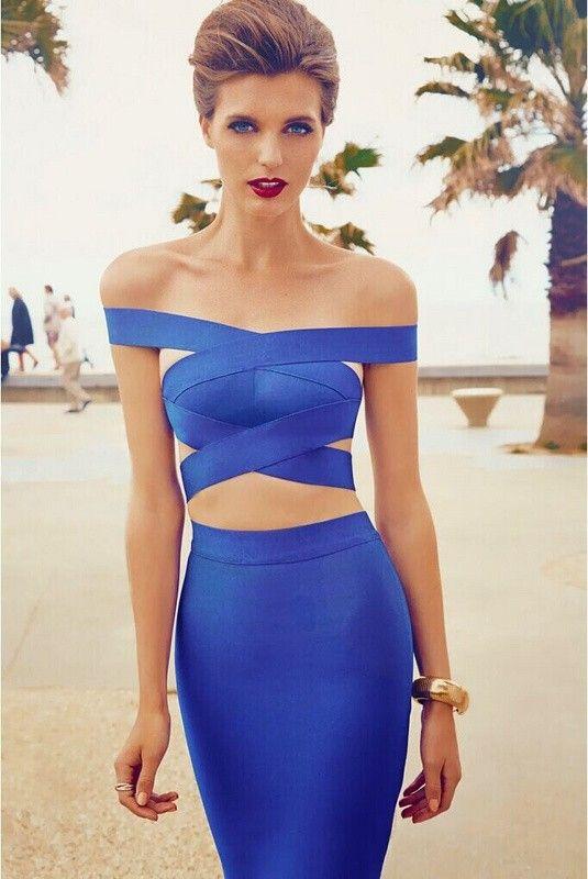 Blue bandage dress cheap