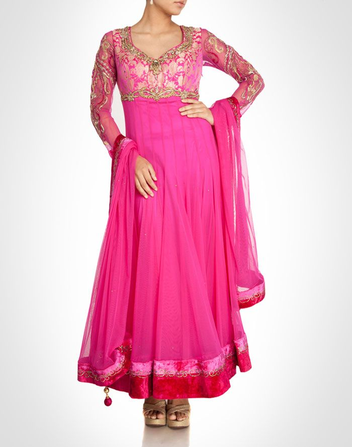 Pink net anarkali with velvet borders and brocade bodice. Available in more colours. Shop Now: www.kimaya.in