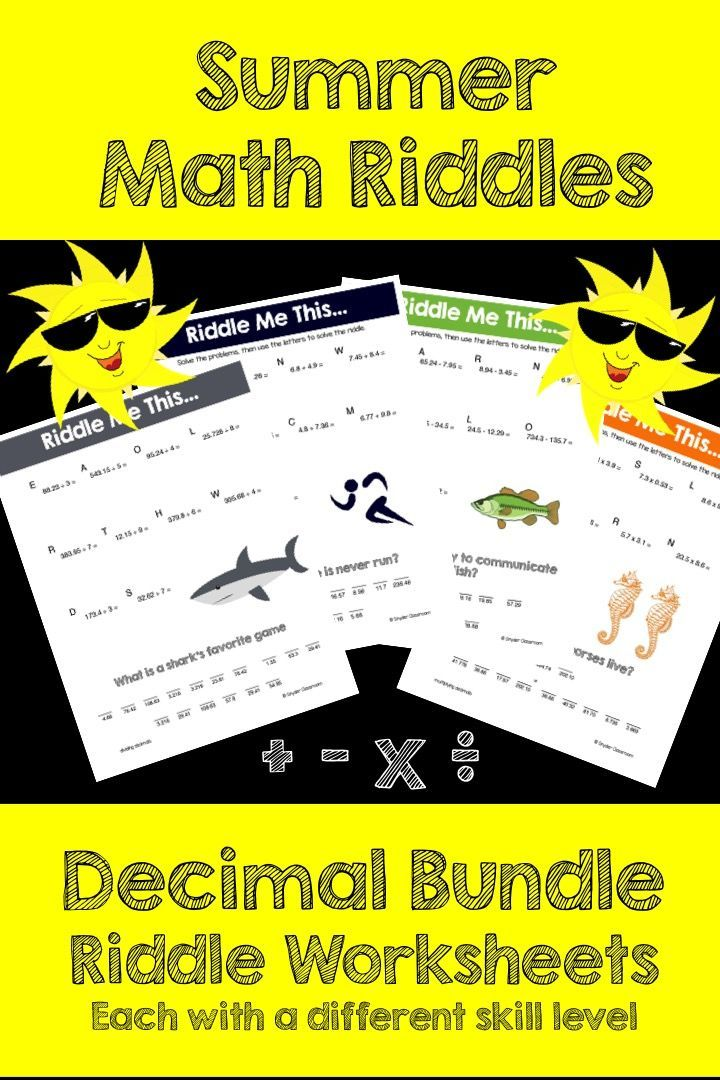 Make Reviewing Decimals FUN this Summer! This activity is full of computation practice. The students also have a goal of solving a riddle at the end. It is a great way to combine fun and learning! The Pack includes 14 different riddle worksheets at varying levels.