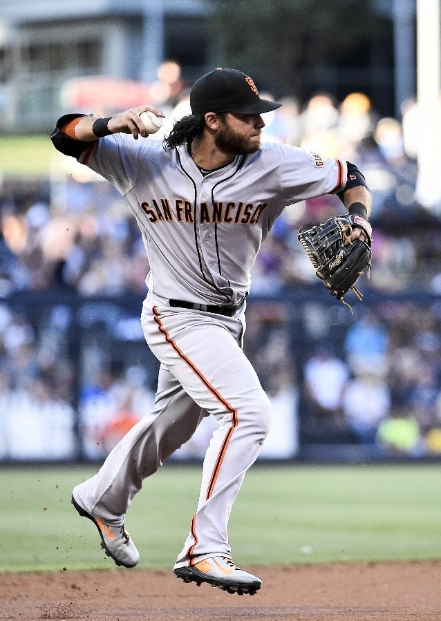 SAN DIEGO, CA - SEPTEMBER 20: Brandon Crawford #35 of the San Francisco Giants throws out Yangervis Solarte #27 of the San Diego Padres during the first inning of a baseball game at Petco Park September, 20, 2014 in San Diego, California. (Photo by Denis Poroy/Getty Images)