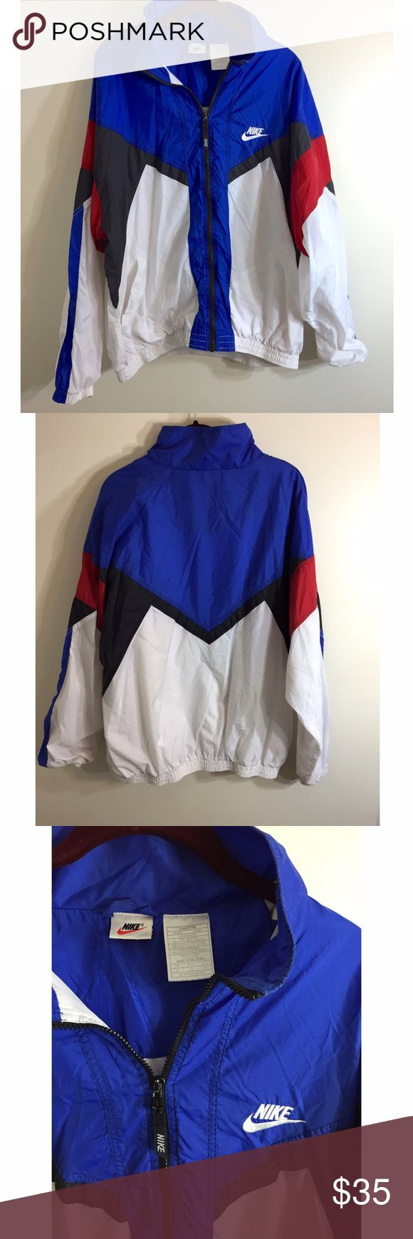 Vintage Nike Windbreaker Men's Size XL. This jacket is in excellent condition. There is very minor wear as seen in last pic. (Very light yellowing on the back but hardly noticeable!) Awesome jacket! Nike Jackets & Coats Windbreakers