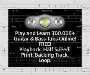 Songsterr is a guitar tab site, but with a big difference. Each song tablatures is displayed on a flash-based online player which plays the song as you read through it so that you can hear the timing and phrasing of the entire song.