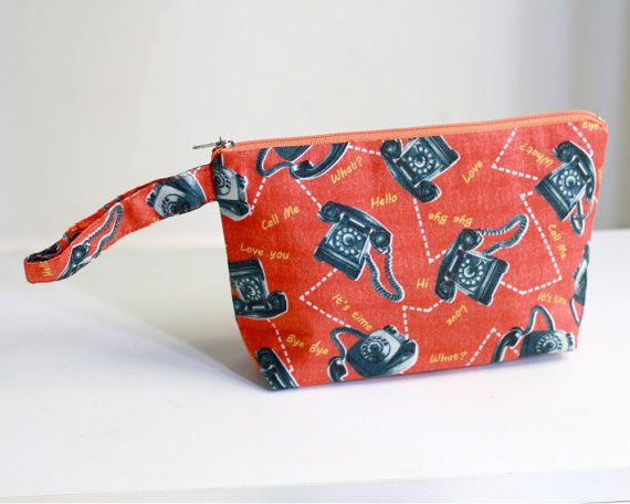 Novelty Pouch, vintage telephone pouch, make up pouch, cosmetic bag