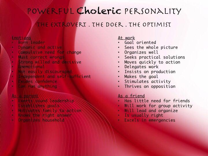 Powerful choleric personality type