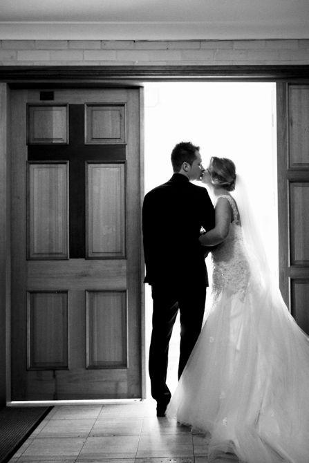 Exiting the church as husband and wife. Location: St Nikola Tavelic Croatian Catholic Church, St Johns Park #markjayphotography #sydneyweddingphotographer #weddingphotography #bride #groom #pose