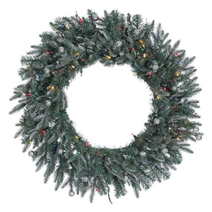 Vickerman 36 in. Crystal Frosted Balsam Pre-Lit Wreath with 100 Multi-Colored Lights - A159838