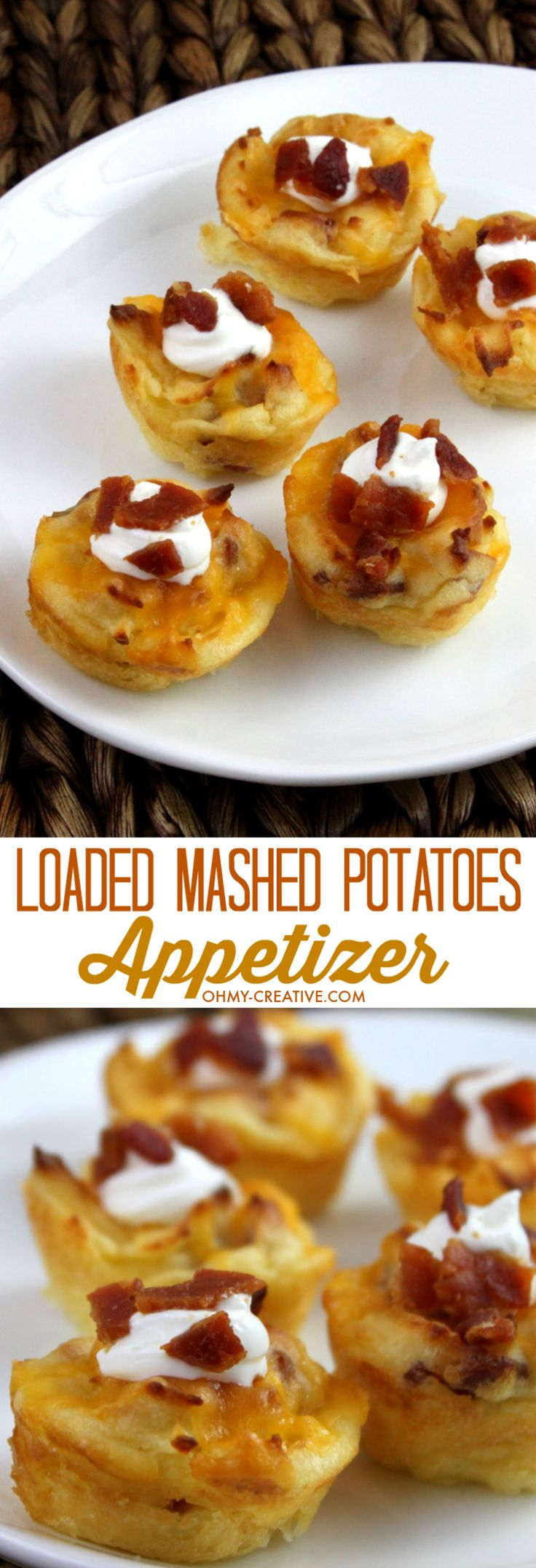 There is nothing better than an easy party appetizer! That's why I love these Cheesy Loaded Mashed Potatoes Appetizer Bites! The perfect easy to serve bite size potato appetizer! | OHMY-CREATIVE.COM