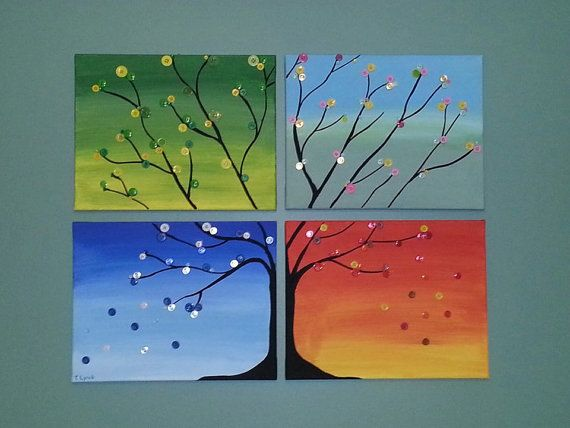 I like the way the background is painted. Just add more buttons w/color matching the seasons.