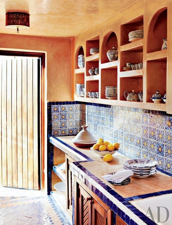 Interiors | Moroccan Courtyard House - DustJacket Attic Kitchen An amazingly beautiful 18th-century Moroccan riad (courtyard house). It was in total disrepair before being rescued and renovated by art dealer Dorothea Elkan & designer Salem Grassi … skilled Moroccan artisans were sourced to create the stunning features of this home. photos by simon watson for architectural digest