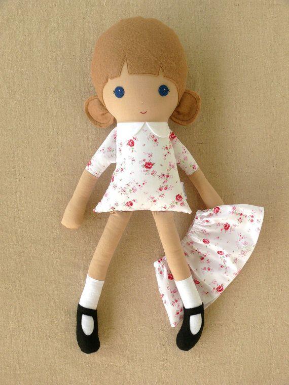 Fabric Doll Rag Doll Cloth Doll Girl in Dainty Floral Print Dress