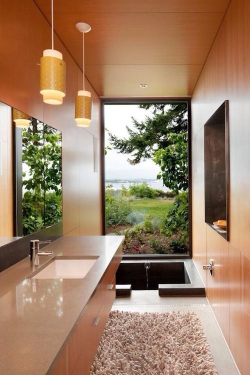 Fancy bathroom with a great view