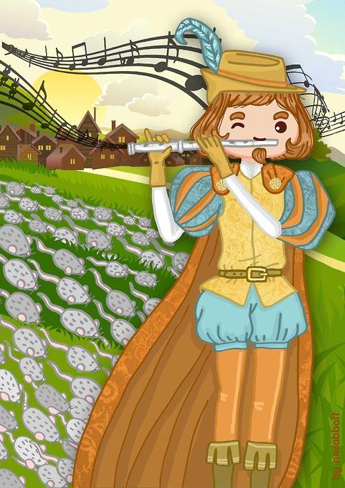 "El Flautista de Hamelin. Pied Piper of Hamelin by neilabbott Mes de Marzo de ""neilabbott fairy tales calendar 2014"""