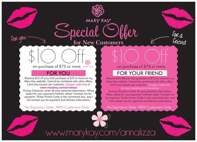 """Special Offer:  Receive $10 off your first purchase of $75 or more on my Mary Kay website. Cannot be combined with other offers. Limit one coupon per customer. Coupon valid only at www.marykay.com/annalizza During Checkout, enter all your personal information. When asked for your payment method, select """"Contact me for payment."""" Enter Promo Code in the comments box, and I will contact you for payment and delivery instructions."""