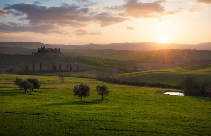 Val d'Orcia, Tuscany. #Belvedere #ValdOrcia #travel #Trees #Tuscany #Sunstar #sunlight #Sunrise #print #Sun #SunRays #Toscana #outdoorphotography #MorningSun #Morning #MorningLight #marcoromaniphotography #landscapephotography #Landmark #Hills #EarlyMorning #Clouds #Farms #Countryside #Fields #fineart #fineartphotography #Italy #Italia #Green #landscape #marcoromani #Podere #Nikon #Feisol #Nikkor #NikonD800