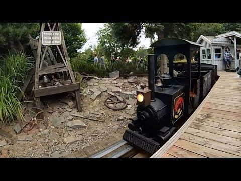 Lego Mine Train at Legoland Billund. A ride in the Mine Train is great fun for the family, you can see Mount Rushmore, Western style Gold mining, old mining equipment.