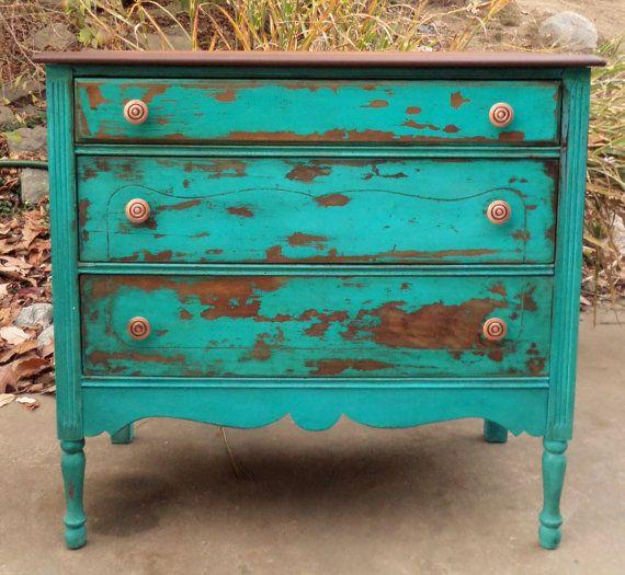 turquoise painted furniture ideas. Distressed Turquoise Dresser / Painted Vintage Milk Media Console Furniture Ideas 5