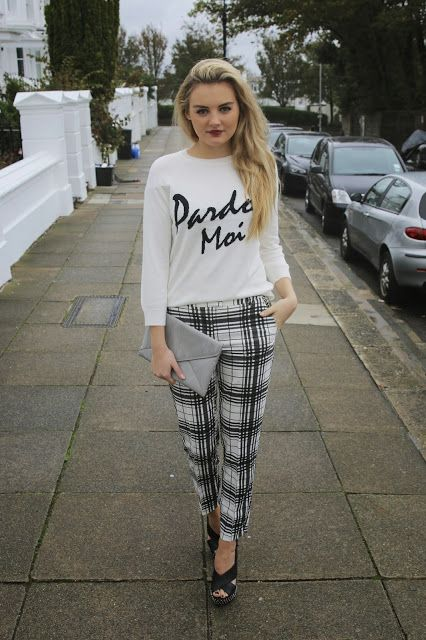 Checkered trousers, springfall outfit