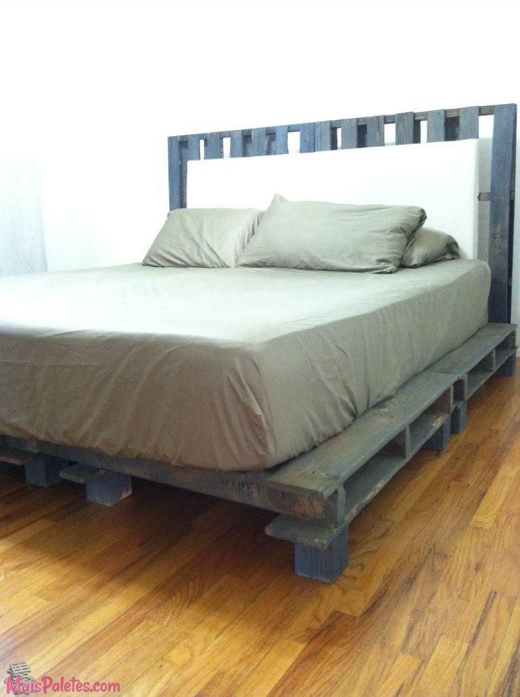 Cama e cabeceira de cama ambas feitas com paletes veja for Diy pallet beds