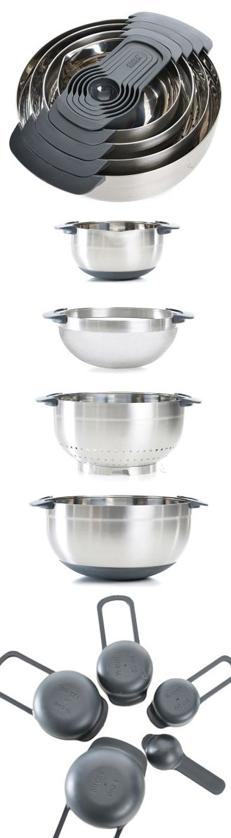Joseph Joseph Nest // 9 piece nesting set including bowls and measuring cups #product_design #kitchen