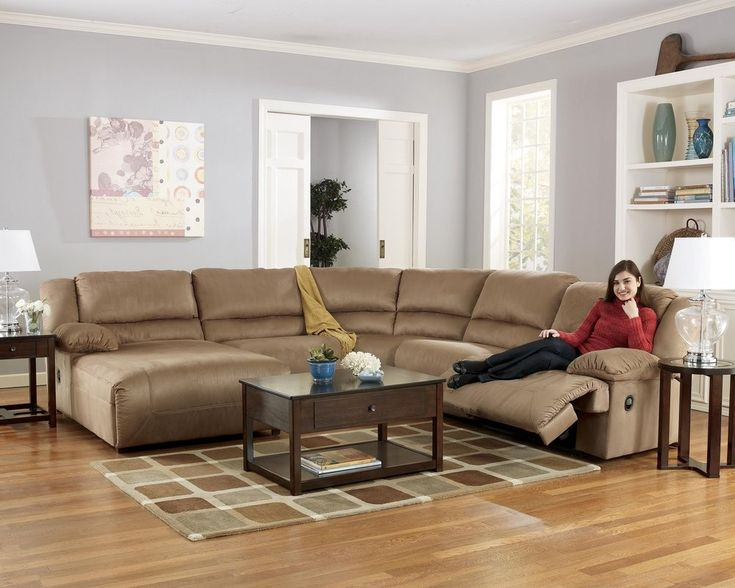 MM Furniture Hogan Mocha Reclining Sectional Sofa With Left Facing Chaise