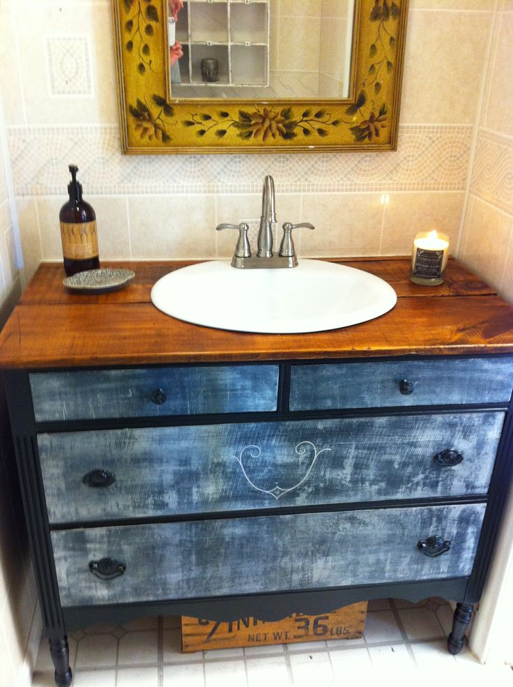 Repurposed antique dresser now a beautiful bathroom