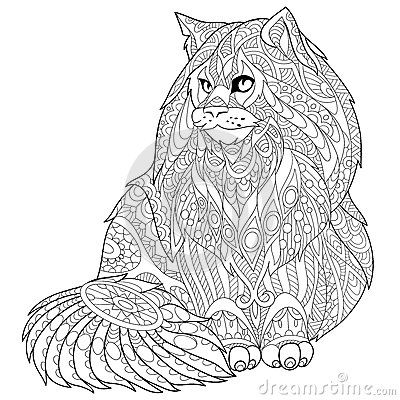 Zentangle Stylized Maine Coon Cat Catastic Cat