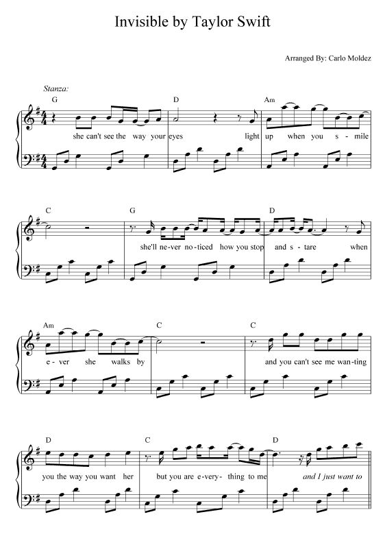 Invisible - Taylor Swift Sheet Music
