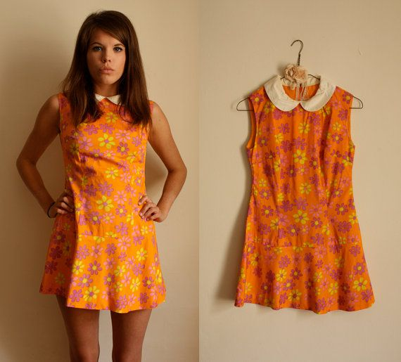 1960s French Orange Flower Power Mini Dress with Peter Pan Collar
