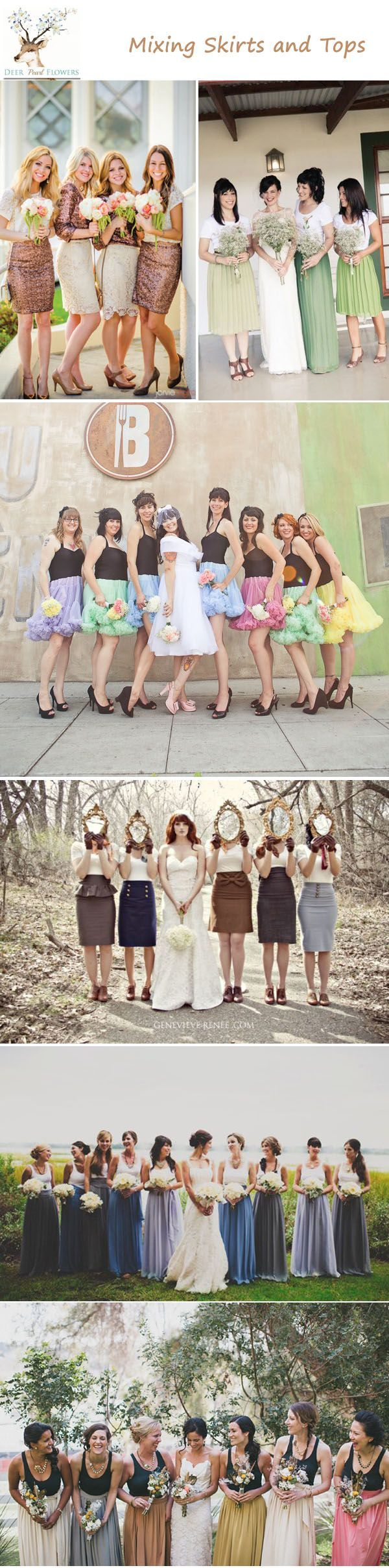 unique bridesmaid dress ideas - mixing skirts and tops mismatched bridesmaid dress