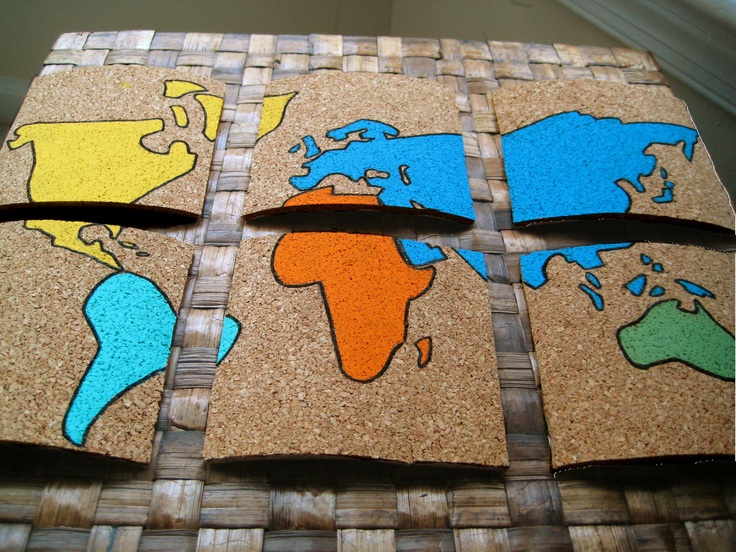 15 best molls maps images on pinterest cards maps and etsy colorful hand painted corkboard world map coasters 6 2000 via etsy gumiabroncs Image collections