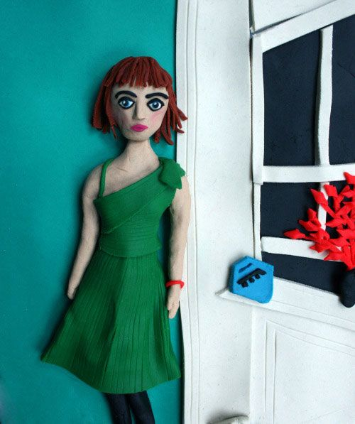 Photographs Rendered in Play Doh Eleanor Macnair - Original photo Vivienne in the Green Dress NYC 1980 by Nan Goldin