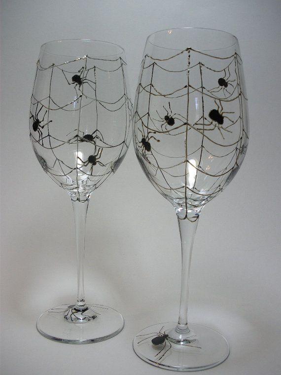Spooky Halloween 15 7/8 oz Wine Glasses - Hand painted - Black Spiders - Set of 2