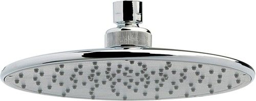 """Crown Showers Round Shower Head With Swivel Knuckle (205mm, Chrome).  Free delivery to mainland Ireland. Round shower head in chrome with swivel knuckle. Size 205mm.      Size: 205mm (8 inches).     Solid brass construction, chrome plated.     Easy to install.     Standard 1/2"""" swivel knuckle connection.     5 Year Guarantee: Crown guarantee this shower head for 5 years.   €64.09 inc VAT & Delivery"""