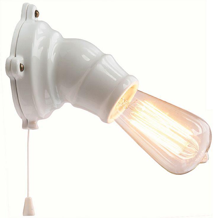 SPOT Keramik-Wandleuchte mit Zugschalter *Weiße Keramik (ohne Dekor) mit Wolframfaden-Glühbirne