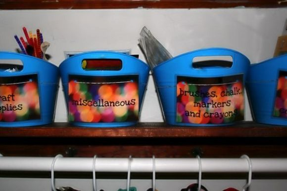 Organize art supplies with dollar store bins + laminated labels